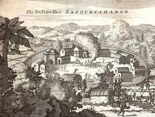 Susquehannock Indian Village by Herman Moll, 1720