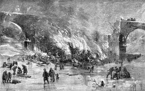 Train wreck in Ashtabula, Ohio in December 1876. Illustration from Harper's Weekly, January 1877.